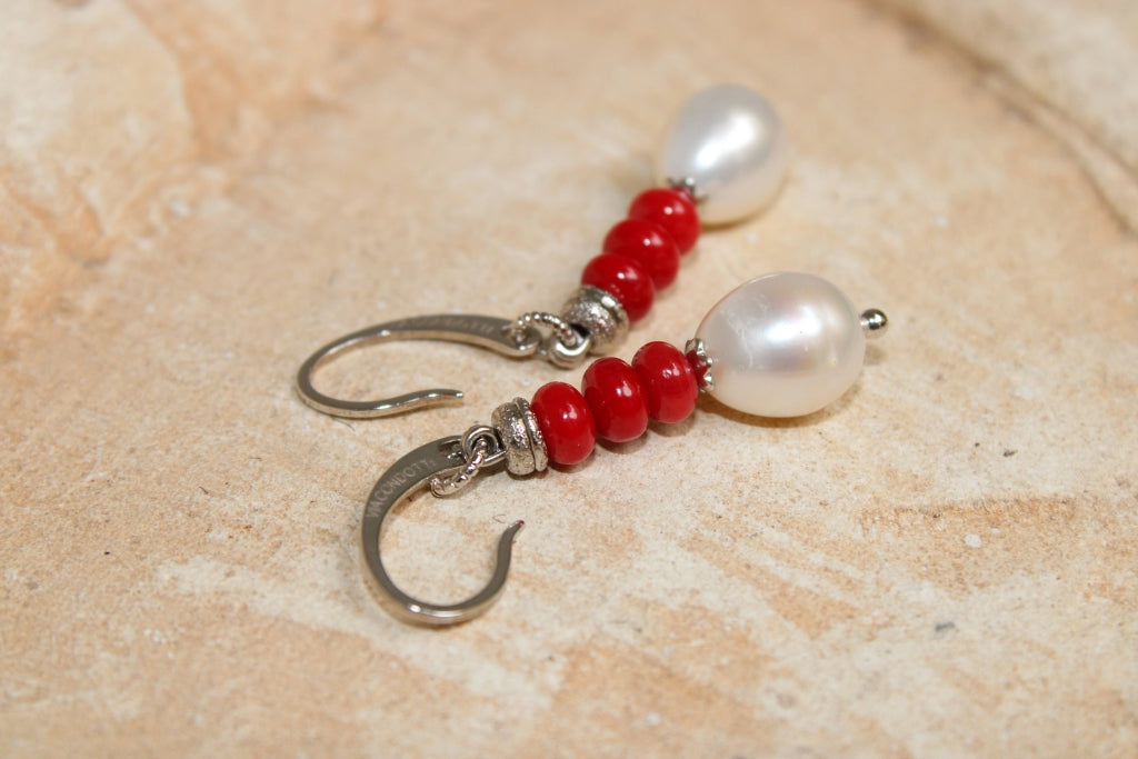 Coral and Pearls Earrings