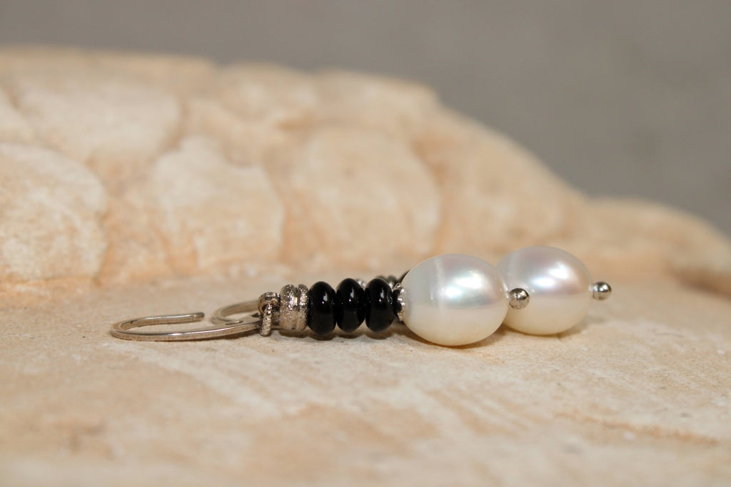 Pearls and Onyx Earrings