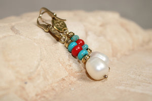 Coral Turquoise and Pearls Earrings