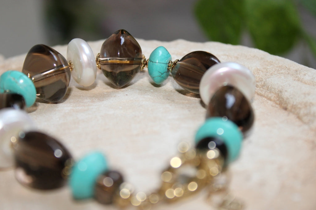 Smoky Pearls and Turquoise Bracelet