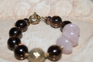 Smoky Quartz and Rosé Quartz Bracelet