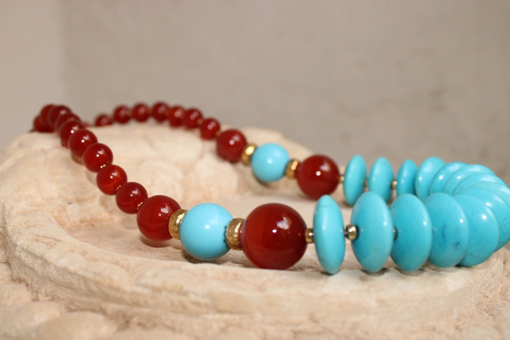 Carnelian and Turquoise Necklace