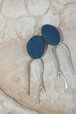 Orchid Twigs Earrings in Navy and Silver