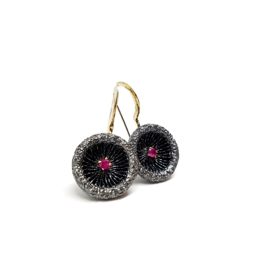 Ruby Mushroom Earrings