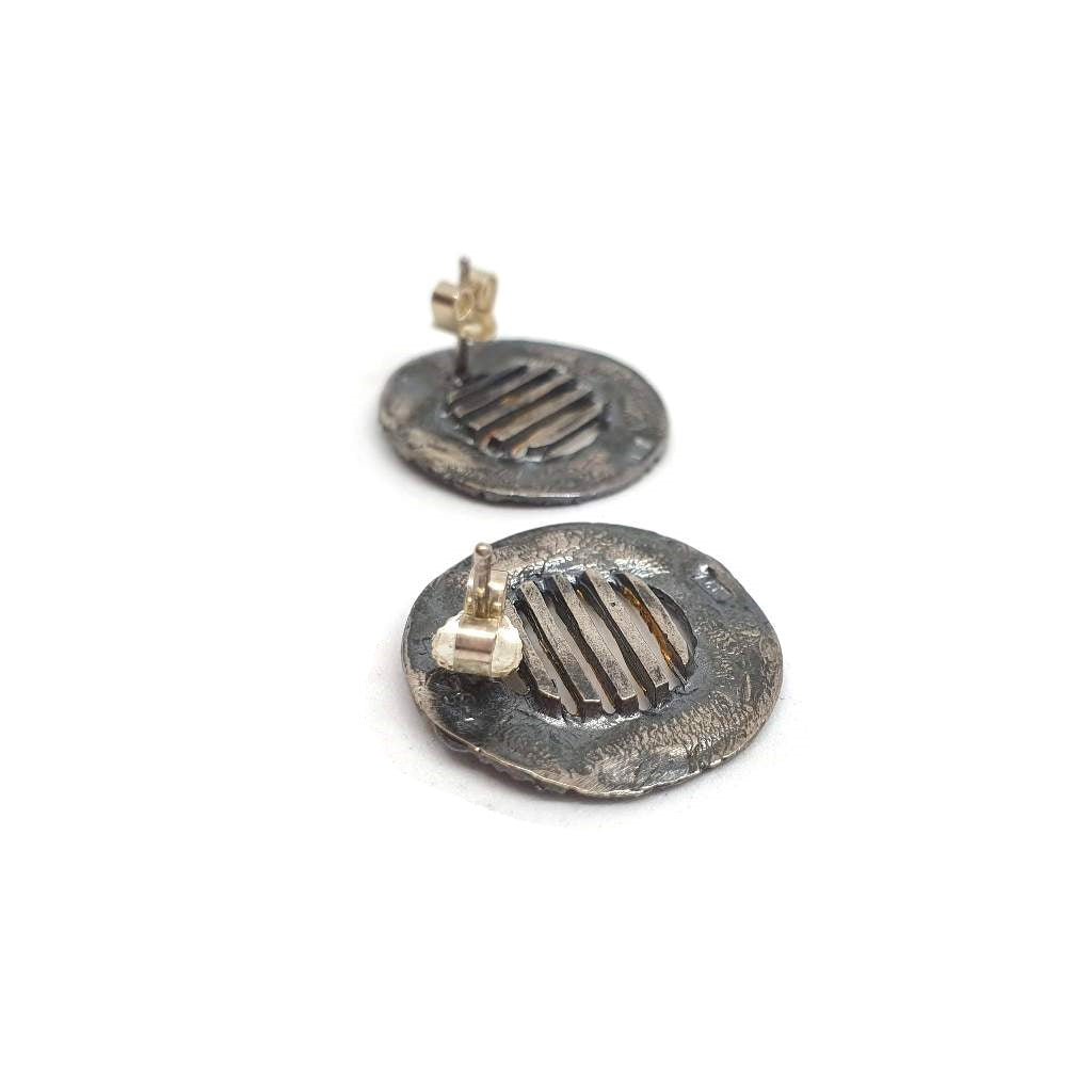 Circles Gold Stripes Earrings