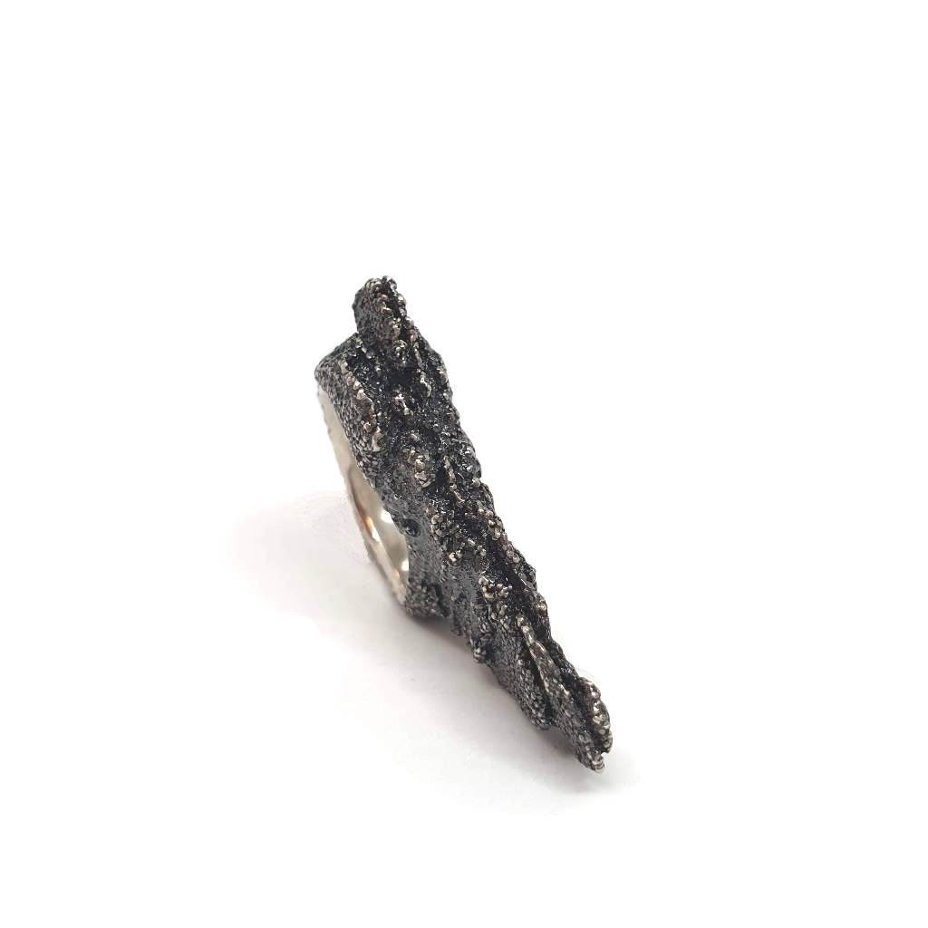 Small Black Rock Ring - One of A Kind