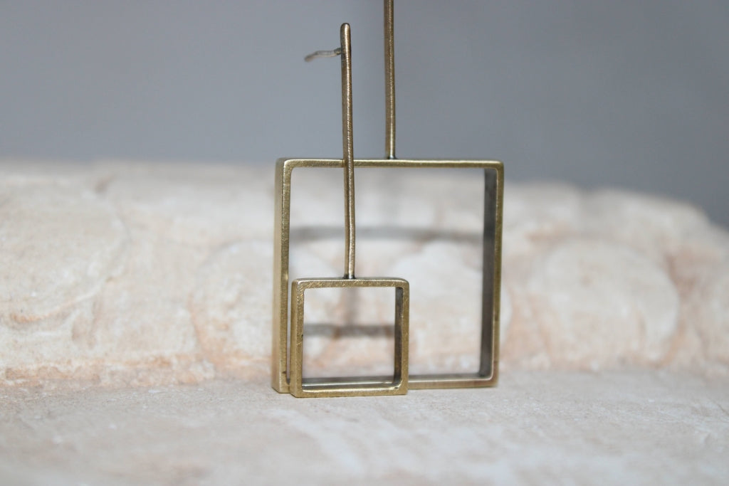 Big Asymmetrical Boxed Square Earrings