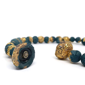 Reef Necklace in Forest Green and Gold
