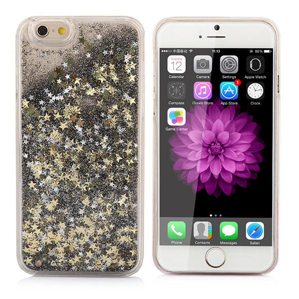 "Cover de Brillo Clear iPhone 5 5S SE 6 6S 4.7""/ 6S Plus 5.5"" Clear Quicksand Plastic Covers - 911reparame"
