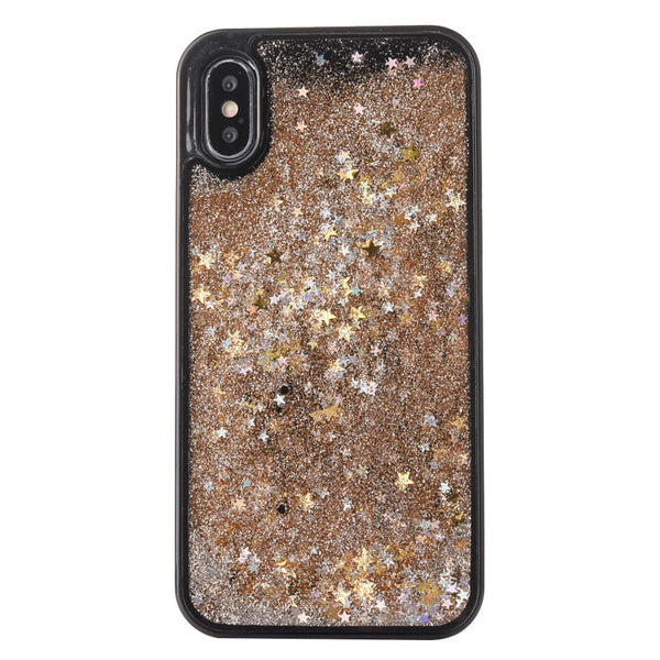 Phone Cover Pink Heart Sequin Glitter Liquid Quicksand Case Protector Rhinestone Encrusted PC Hard Shell for iPhone X - 911reparame
