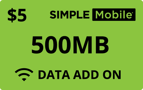 Plan SimpleMobile $5 data add on