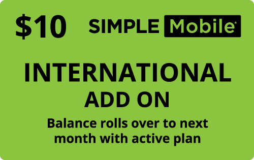 Plan SimpleMobile $10 Intl add on