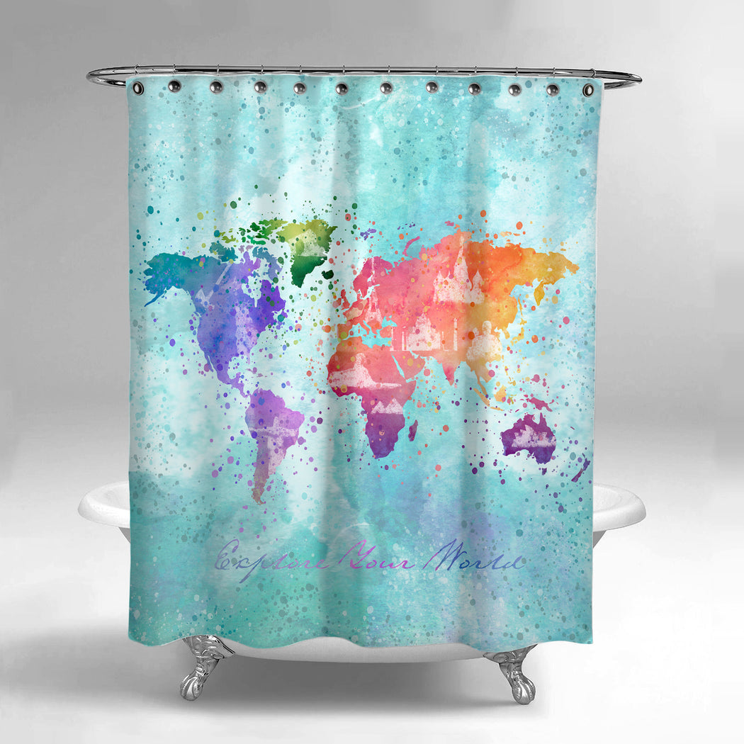 World map shower curtain lume world map shower curtain gumiabroncs Images