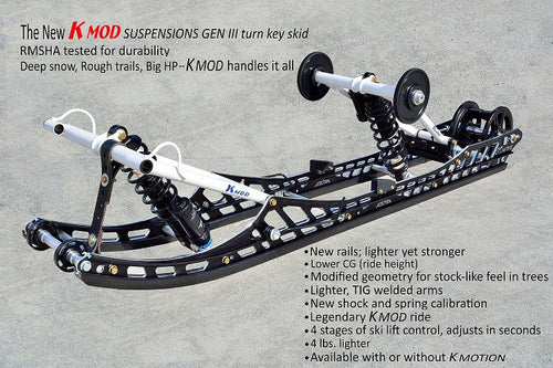 "Kmod axys gen 3 skid 163"" with anodized rails"