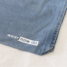 Close up of Wear Now Do Distressed Denim Tote