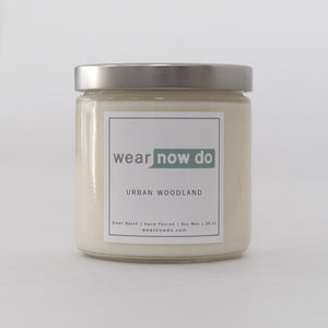 Cedar wood, pine, and lemon scented pure soy wax candle