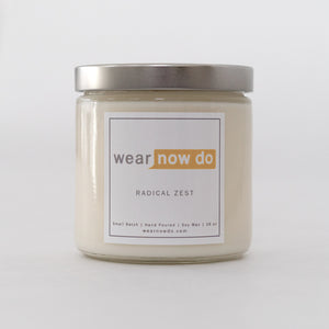 Grapefruit and ginger scented pure soy wax candle