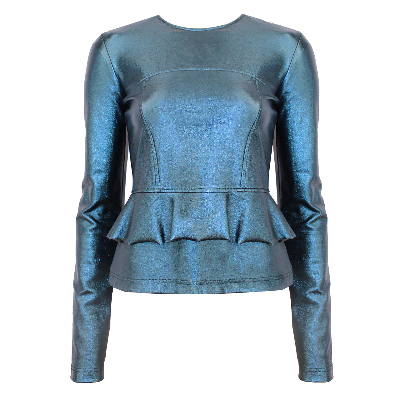 Ruffle Leather Look Top