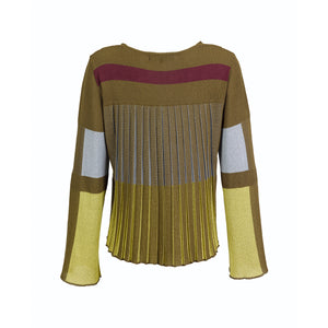 Color Block Pleated Back Cardigan