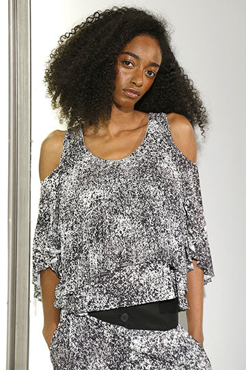 Printed Pleated Top