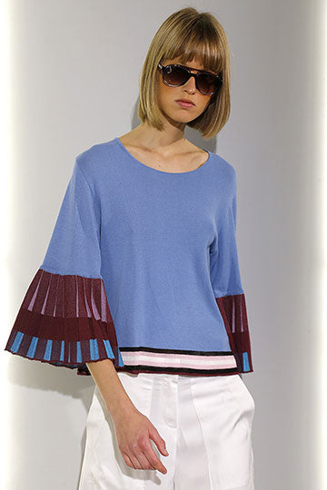 Pleated Sleeves Knitted Blouse