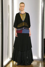 Load image into Gallery viewer, Color Block Pleated Hem Cardigan