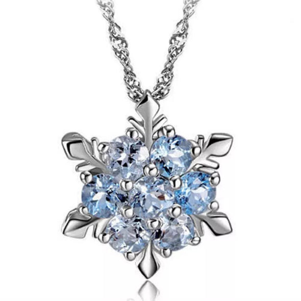 Snowflake crystal necklace Blue