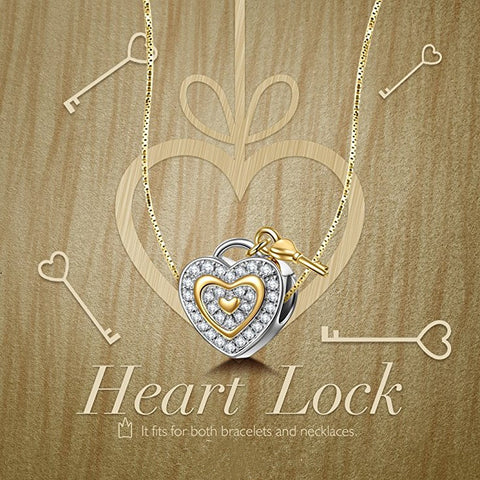 Image of Bracelet Charm – Heart lock and Key Design