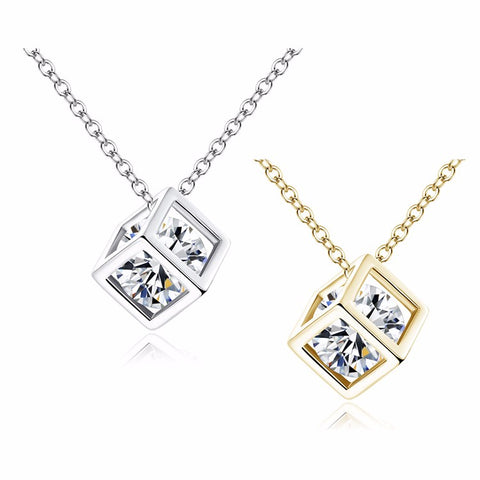 Image of Crystal Cubic Zircon Square Pendant Necklace