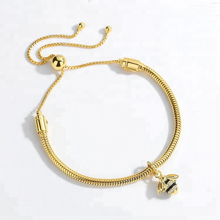 Bee Charm - Gold Plated Enamel