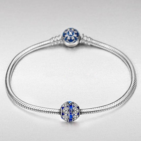 Image of Bracelet Charm – Blue Bead and Heart Design