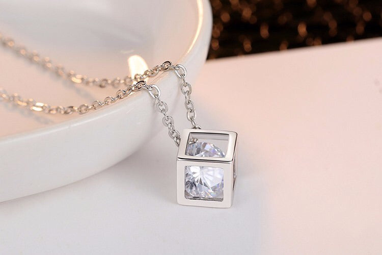 Crystal Cubic Zircon Square Pendant Necklace