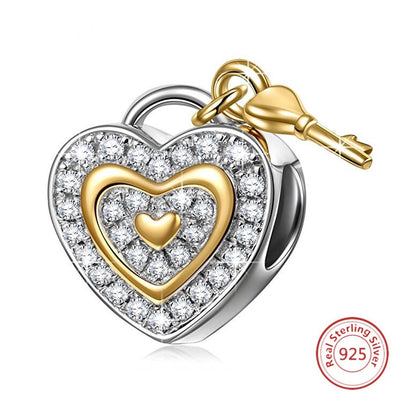 Bracelet Charm – Heart lock and Key Design