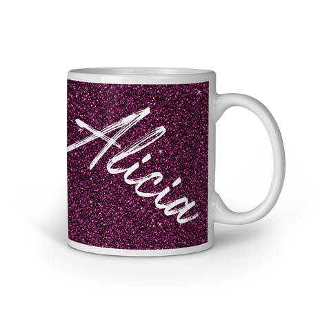 Image of Personalised Printed Glitter Effect  Mug