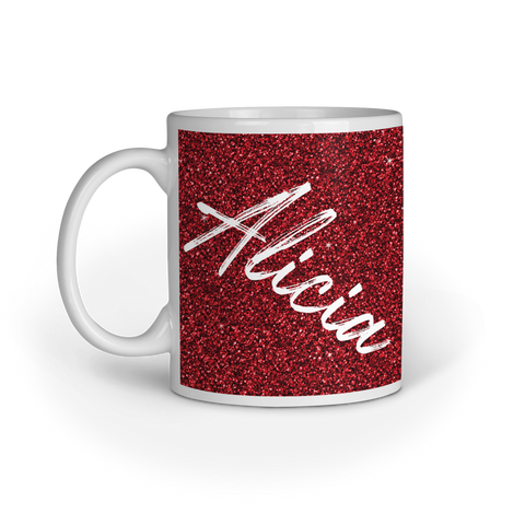 Personalised Printed Glitter Effect  Mug