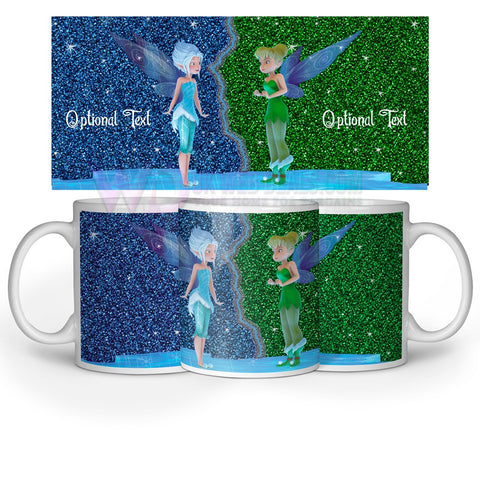Tinker bell Printed Glittery Effect Mug Optional Text/Name