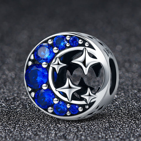 Image of Star & Moon Blue Cubic Zircon Beads Charm