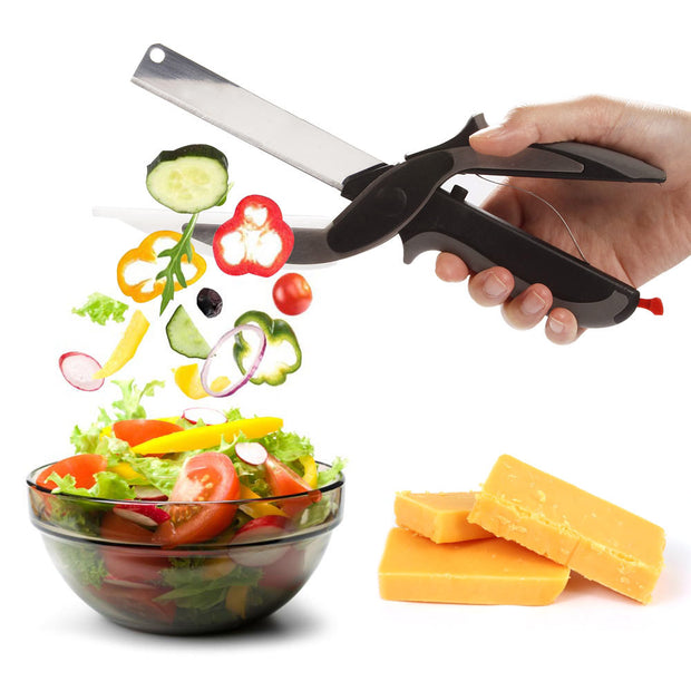 2 In 1 Multi-Function Stainless Steel Cutter Knife and Board