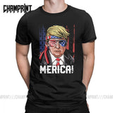 Men's 4th Of July Trump Merica Murica T Shirts Independence Day America USA Flag 100% Cotton Tops Short Sleeve Tees T-Shirt