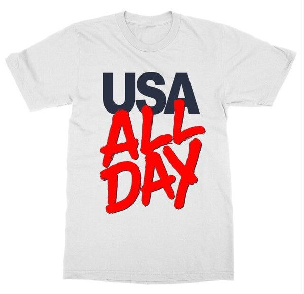 2019 New Men'S  USA All Day T-Shirt July 4th Independence Patriot United States America Firework Tee Shirt