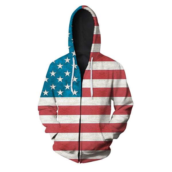 3d Hoodies USA Zip hoodie Men Sweatshirt TH Hooded United States America Independence Day Hoody Mens National Flag Tops Coats