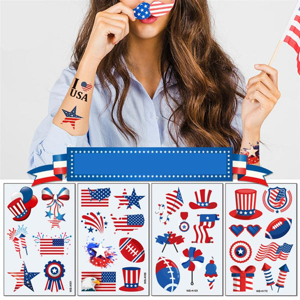 10pcs USA Flag Premium Waterproof Temporary Tattoo United States of America Independence Day 4th July National Party Temp Tattoo