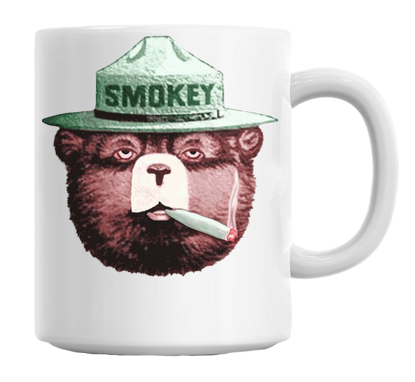 Smokey Bear Smoking Weed Mug