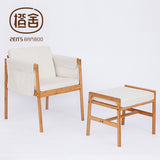 ZEN'S BAMBOO Sofa Chair Bamboo Armchair Stool Set With Sponge Cushion Hanging Storage Bags Home Furniture Office Chair Furniture