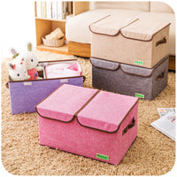 Double cover Multi-color hemp clothing storage box