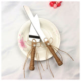 Silver hemp rope + stainless steel bow flower wedding cake knife shovel