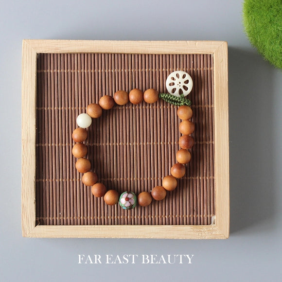 Bracelet Lotus - Wooden with Cloisonne