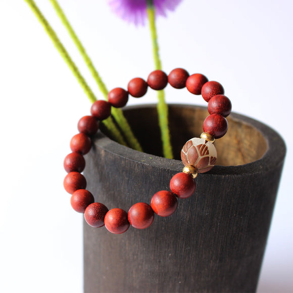 Lotus Bracelet - Red Sanders with Tagua Nut
