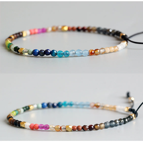 Bracelet Chakra Color Mix - Twelve Constellation Stone - Handmade