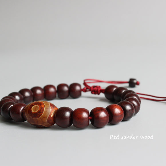 Bracelet Spiritual- Red Sanders Wood with Tibetan Agate